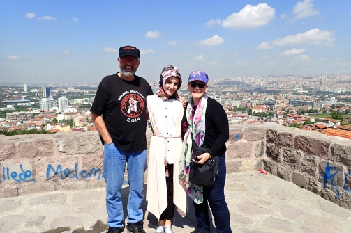 We are often asked to have our picture taken with the locals - here we are overlooking the Old town of Ankara