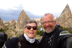 A selfie at the Fairy chimneys in Rose Valley near Goreme