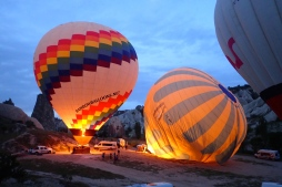 Getting ready for lift off at around 4am near Goreme in Cappadocia region. In busy times there can be around 150 balloons in the air. We had 50 this day. It was still a sight to see and another unforgettable experience