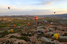 It was a sight to see ..... 50+ colourful balloons in the air over Cappadocia at sunrise