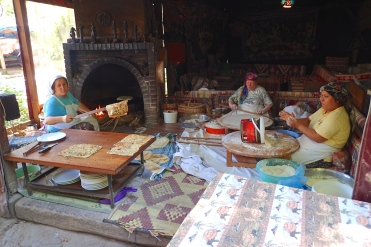 Making Turkish pita on a very hot day.... it was very good