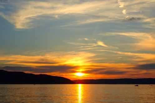 Sun setting over the Dardanelles - looking across from Canakkale