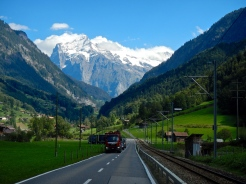 The road to Grindelwald with the massive face of Mt Eiger making an amazing backdrop..