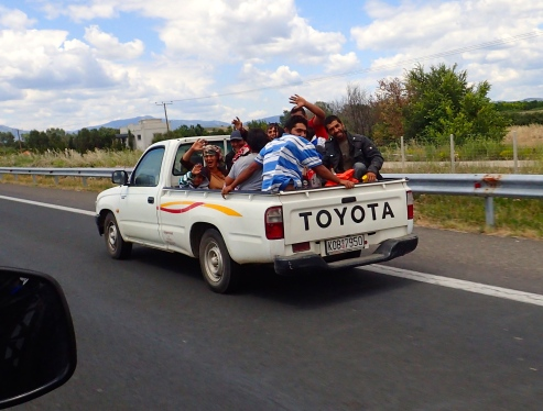 A bunch a happy campers in Greece, just over Turkish border. There were another 4 in the cabin