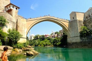 Bosnia - famous Mostar bridge where men jump off for money