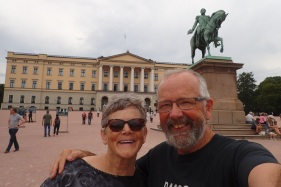 Outside the Royal Palace in Oslo, Norway