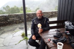 Norway - what to do when it is absolutely pissing down with rain.... stop for a BIG ice-cream