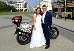 Poland - Warsaw - The Vstrom photobombing a wedding
