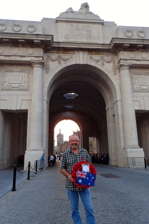 A very special and proud moment for John to lay a wreath at Meniin Gate for his Grandfather and the men of the 3rd Pioneers