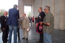 Ypres - Menin Gate - John rubbing shoulders with the French general (shortie) who was also laying a wreath