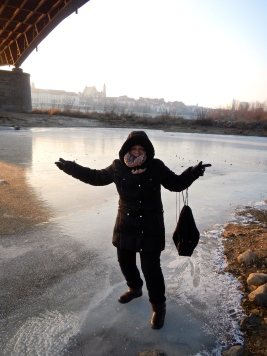 Jo walking on a frozen river - Out on of our regular walks along the Vistula River Warsaw