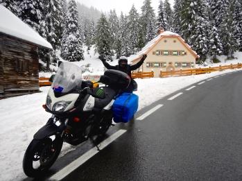 Jo loving the winter wonderland - Down the road Obertauern Ski Fields