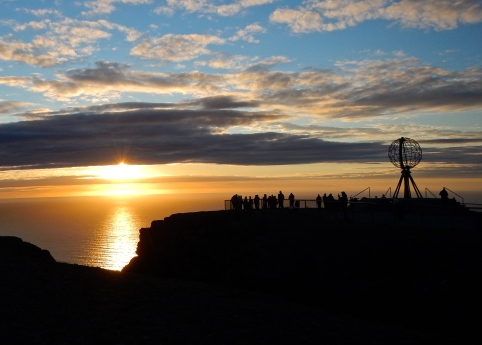 Beautiful sunset - The summer sun set at Norway's Nordkapp