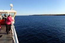 Ferry across to Scotland Orkney Island on a beautiful Octobers day